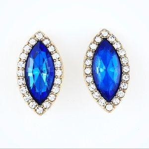 Rhinestone Sapphire Crystal Gold Tone Earrings